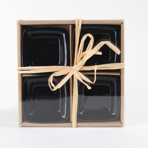 Black Square dipping saucers 4-pack