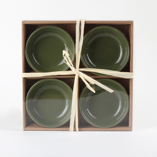 Olive Oil Dipping Dishes 4-pack Green Round