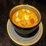 Pumpkin Cheddar and Chorizo Soup